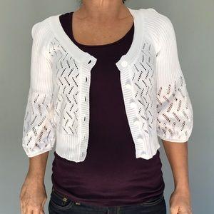 White Anne Klein crop cardigan